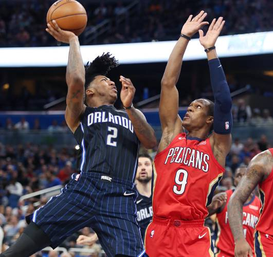 91ed3327ce3 The New Orleans Pelicans' Rajon Rondo (9) pressures a shot by the Orlando  Magic's Elfrid Payton (2) at the Amway Center in Orlando, Fla., on December  22, ...