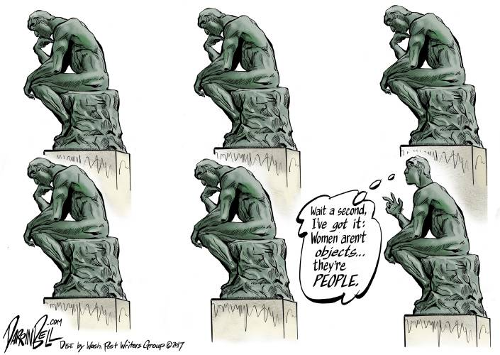 valley news editorial cartoon the thinker