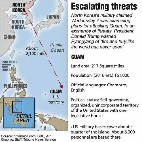 n korea threatens tiny us territory with big military power