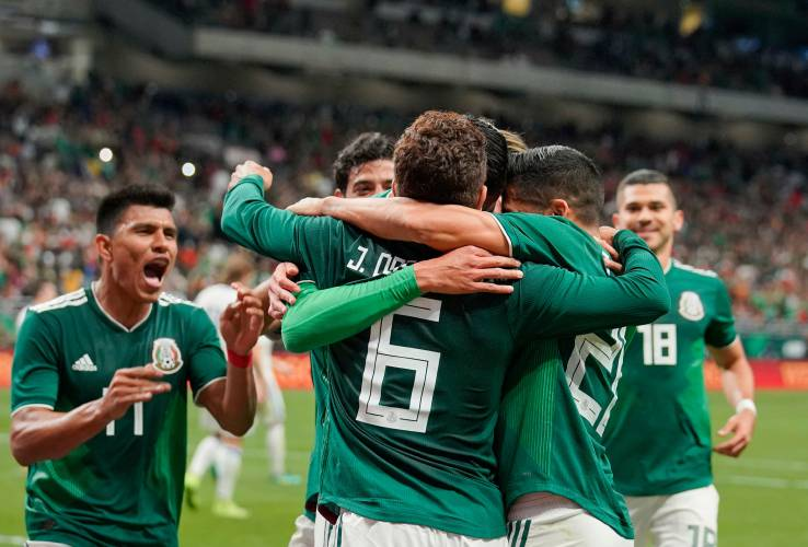 Mexico Players Celebrate A Goal By Defender Hugo Ayala During The Second Half Of An International Friendly Soccer Match Against Bosnia And Herzegovina