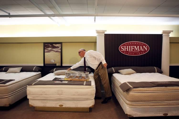 Dan Rutledge Tidies Up The Mattress Showroom At Bridgmanu0027s Furniture On  Friday, May 12, 2017, In Lebanon, N.H. Bridgmanu0027s Furniture Owner Steve  Rutledge Is ...