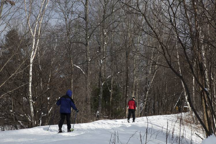Unidentified Cross County Skiers Makes Their Way Through The Lebanon Access Point Of The Northern Rail Trail On Monday February 13 2017 In Lebanon N H