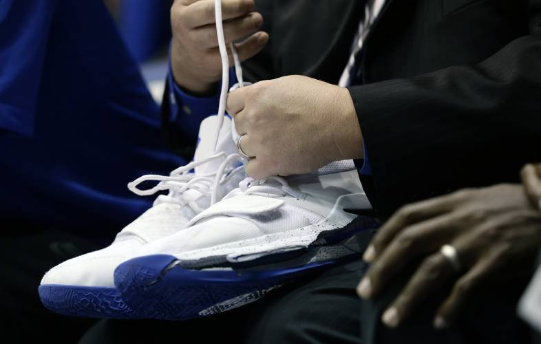 c1f6257bb3a ... Duke s Zion Williamson s shoes after Williamson left the game due to an injury  during the first half of an NCAA college basketball game against North ...