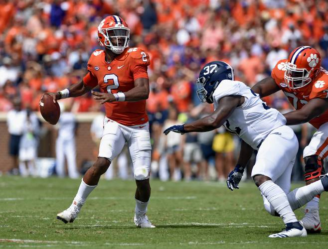 separation shoes eae1a 1df02 Clemson quarterback Kelly Bryant looks to pass while pressured by Georgia  Southern s Lane Ecton during the first half of an NCAA college football  game ...