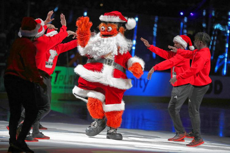 a606feb5fe6f26 Gritty celebrates Christmas before the Philadelphia Flyers play the  Columbus Blue Jackets in Philadelphia, PA on December 22, 2018.