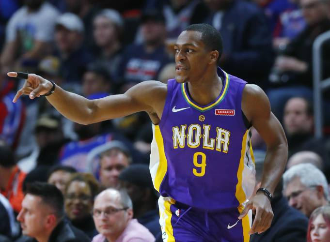 6d614cac0fb 12, 2018 file photo, New Orleans Pelicans guard Rajon Rondo (9) plays  against the Detroit Pistons in the first half of an NBA basketball game in  Detroit.