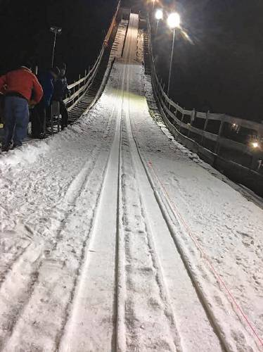 The 50 Meter Ski Jump At Storrs Hill Ski Area In Lebanon Will Be Equipped With Stainless Steel Tracks Beginning This Season