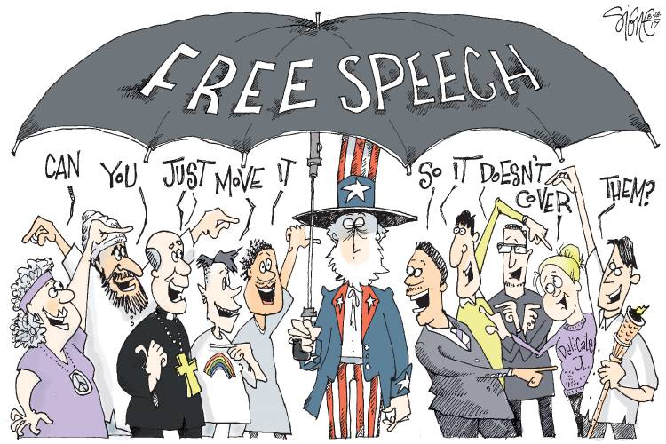 Valley News Editorial Cartoon Free Speech